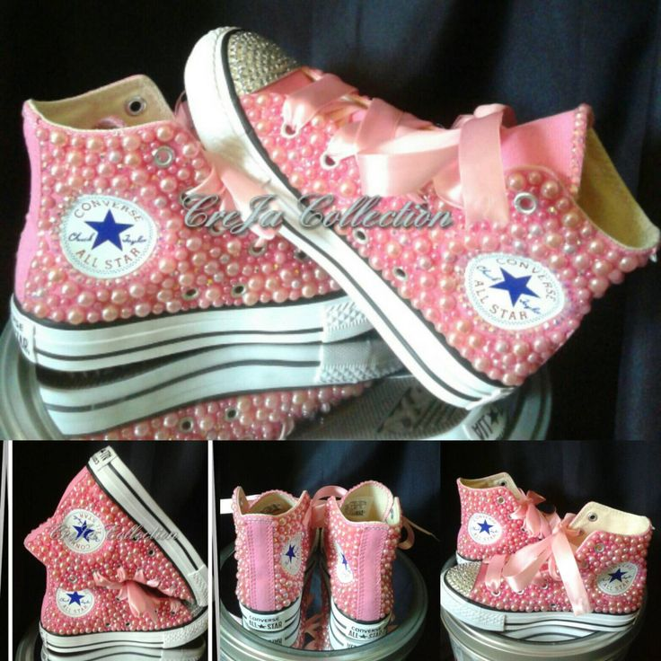 Pearl Converse, Custom Converse, Custom High Top Converse, Bling High Top Converse, Pink Converse, Sparkly Converse, Girl Converse by TheCrejaCollection on Etsy https://www.etsy.com/listing/449781390/pearl-converse-custom-converse-custom
