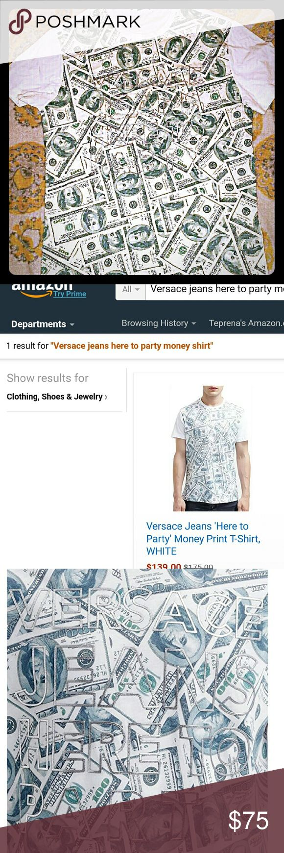 Versace Jean shirt only tried on once it was to small for my guy 100% Authenic super soft size medium graphic Versace men t-shirt the shirt says Versace jeans here to party that 3d holographic sold out at a lot of places found 1 left at amazon on sale for 139.00 Originally 175 Versace jeans  Shirts Tees - Short Sleeve