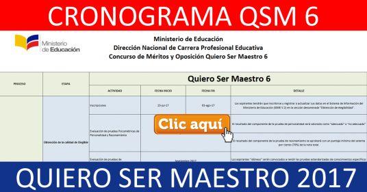 Descargar Cronograma Quiero Ser Maestro 6 - Agosto 2017