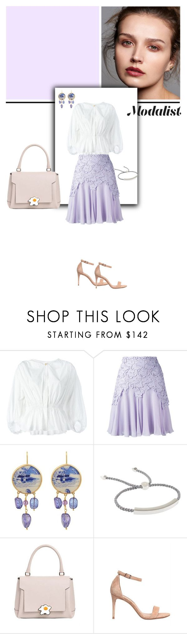 """""""Style Up in a Lace Trim Skirt"""" by modalist ❤ liked on Polyvore featuring Sonia Rykiel, Giambattista Valli, Brigid Blanco, Monica Vinader, Anya Hindmarch and Steve Madden"""