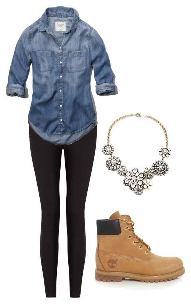 """Timberlands"" by keileeen ❤ liked on Polyvore featuring Lyssé Leggings, Timberland, Abercrombie & Fitch, women's clothing, women's fashion, women, female, woman, misses and juniors"