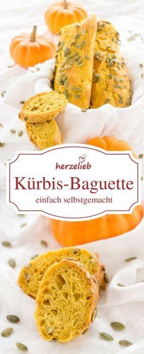 Kürbis Rezept: Das Kürbis Baguette ist leicht und einfach zu backen. Ein Bro zum Verlieben! https://herzelieb.de