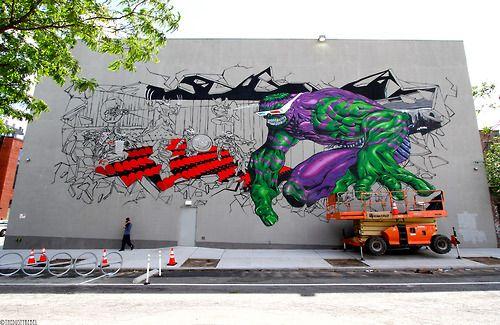Brooklyn based artist from Italy, Federico Massa's (aka CRUZ) massive mural underway at Williamsburg Cinemas.