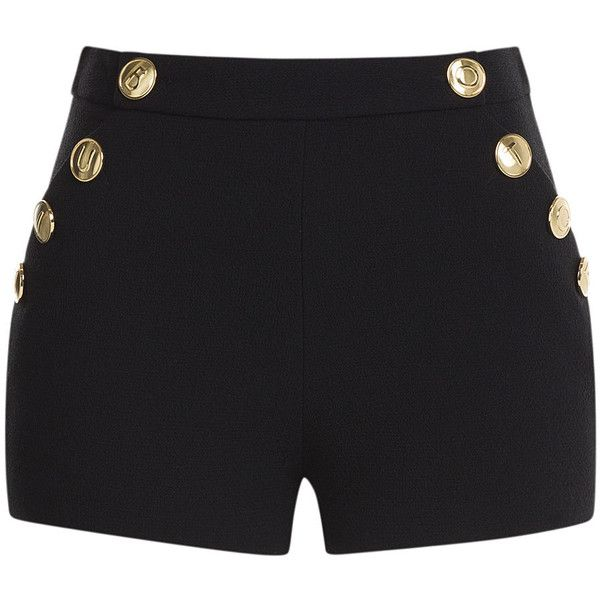 Boutique Moschino High-Waist Wool Shorts with Gold-Tone Buttons found on Polyvore