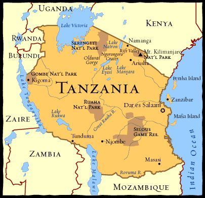 X=X Marks the Spot Tanzania is home of Africa's most famous land forms including Mt. Kilimanjaro, the highest peak in Africa, and Tanzania borders Lake Victoria, Lake Malawi, and Lake Tanganyika. Most people in Tanzania live next to one of these lakes or on the coastline of the Indian Ocean.