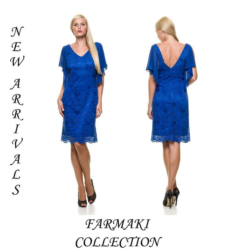 """Φόρεμα κοντό, ίσια γραμμή, διακοσμητικό μανικάκι, """"V"""" εμπρός και πίσω. Ύφασμα όλο δαντέλα με μουσελίνα."""
