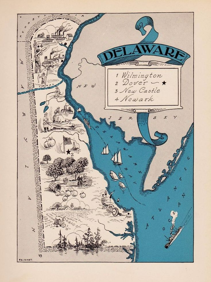 1930s Antique Animated DELAWARE Picture Map Vintage