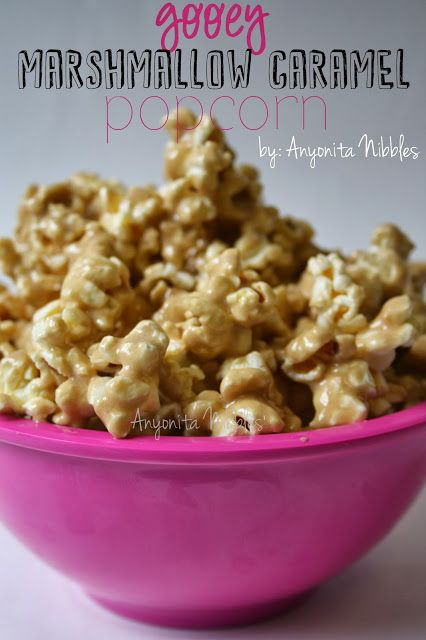 Gooey Marshmallow Caramel Popcorn from www.anyonita-nibbles.com  on Brag About It on VMG206 #popcorn