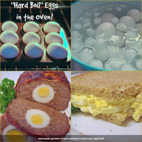 "Hard ""boiled"" eggs either in the oven or in hot water. Neither way are they actually boiled, but, oh, my, beautiful slices. http://www.quick-german-recipes.com/how-to-hard-boil-eggs.html"