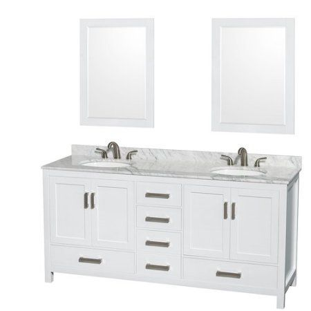 Wyndham Collection Sheffield 72 inch Double Bathroom Vanity in White, White Carrera Marble Countertop, Undermount Square Sinks, and 24 inch Mirrors