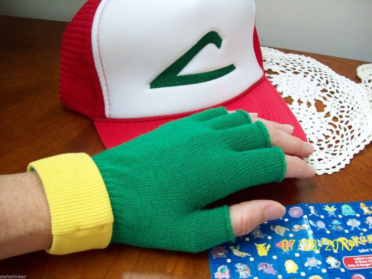 Here is a great Pokemon Trainer hat. We designed it. It fits many sizes due to the adjustable band in the back. I start with a mesh hat (sides and foam-type front) and the logo is emroidered onto the hat. The profile (height) of the hat is 4 1/2 high. This is great for Anime conventions, Halloween, dress up or just for fun!  Also, a pair of fingerless gloves and they have cuffs sewn on. Gloves are adult /teen size. This is trucker style and has a snap back closure which is adjustabl...