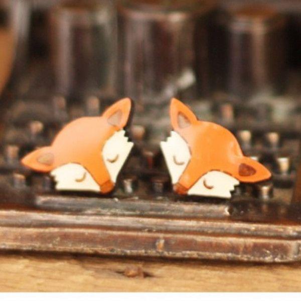 Bok Bok B'Gerk Sleepy Fox Stud Earrings
