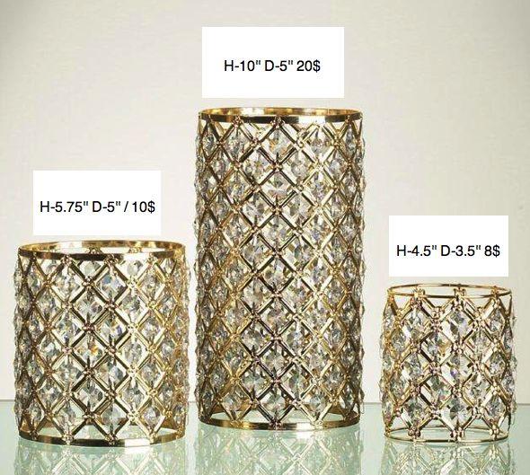 crystal gold shade candleholder