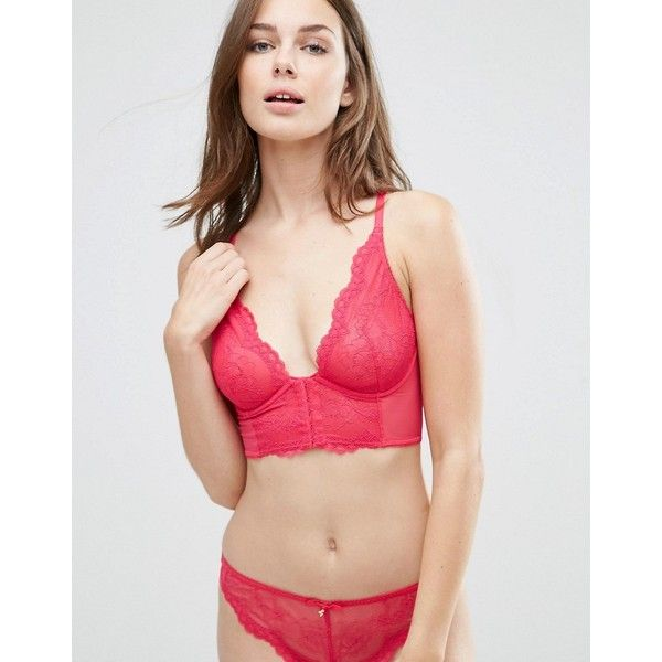 Gossard Superboost Lace Deep V Bralette ($56) ❤ liked on Polyvore featuring intimates, bras, pink, underwire bra, racerback underwire bra, bralette bras, lace racerback bra and pink bra