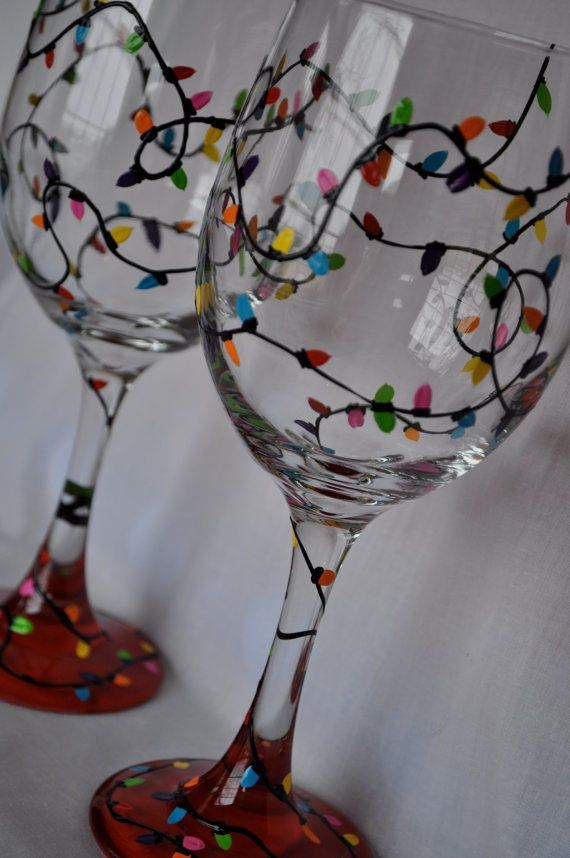 DIY idea :: Hand Painted Christmas Lights Wine Glass Pair by simplyjdesigns