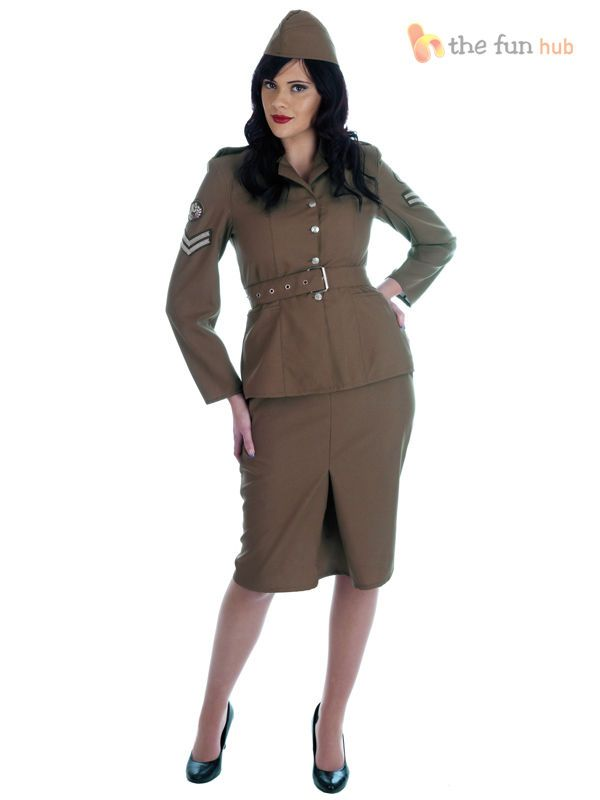 Ladies Army Fancy Dress Costume Womens Sexy 1940s WW2 Military Uniform Plus Size #CompleteOutfit