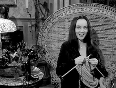 Morticia Adams Kniting