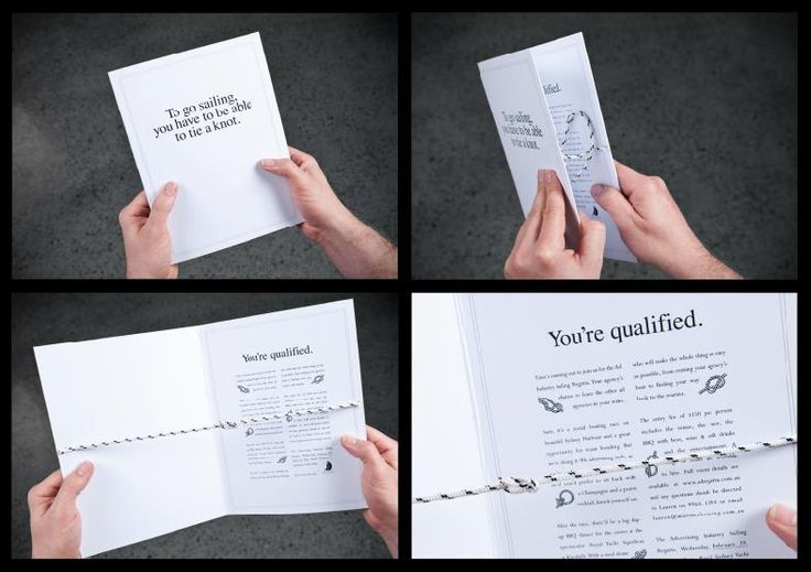 This creative direct mail campaign absolutely succeeds at 1.being memorable 2.engaging and 3.just flat-out cool! The card promos boating and it ties a knot for you, showing how easy it is to qualify to go sailing. Check it out!