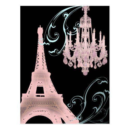 Chandelier Wedding Save the Date Paris Eiffel Tower Chandelier vintage wedding Postcard