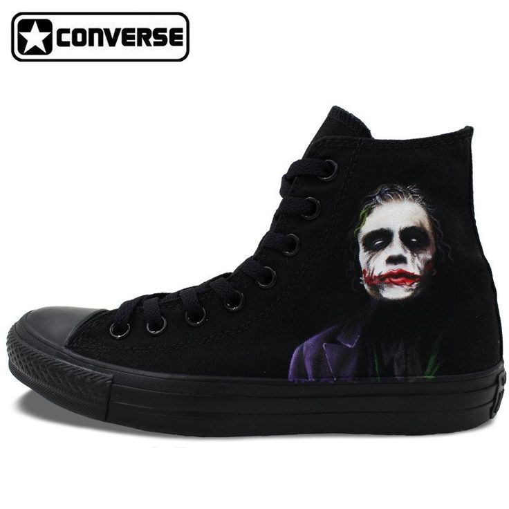 Converse Hand Painted Shoe Custom Design Joker Batman Sneakers High To – Superhero Universe