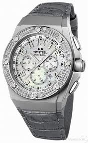 TW Steel 44mm Matte Sandblasted Stainless Steel with White Gold Plated PVD Bezel Featuring 128 Diamonds and a Mother of Pearl Dial on a Gray Italian Leather Stitched Strap from the CEO Tech Collection