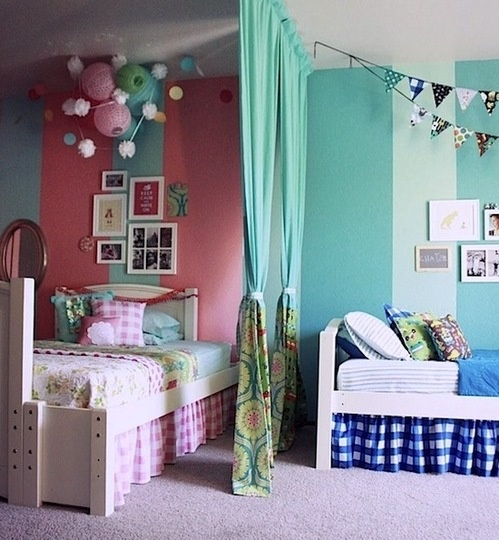 Room Dividers For Kids Bedrooms: Детская комната для мальчика и девочки