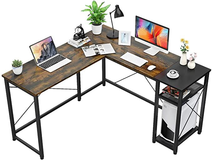 Amazon Com Foxemart L Shaped Computer Desk Industrial Corner Desk 55 2 Writing Study Table With Contemporary Office Desk Table Storage Office Workstations