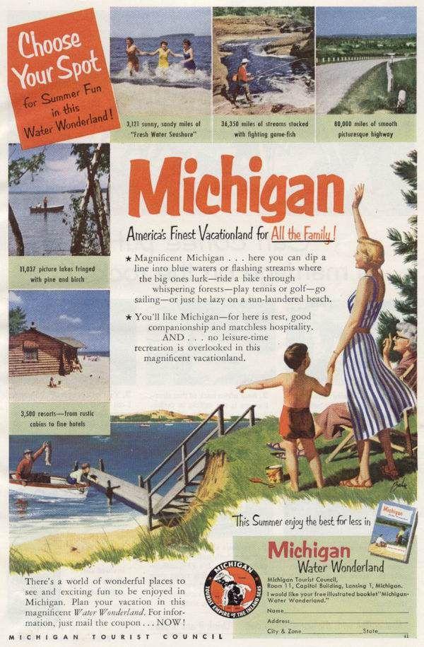 29 vintage Michigan tourism ads