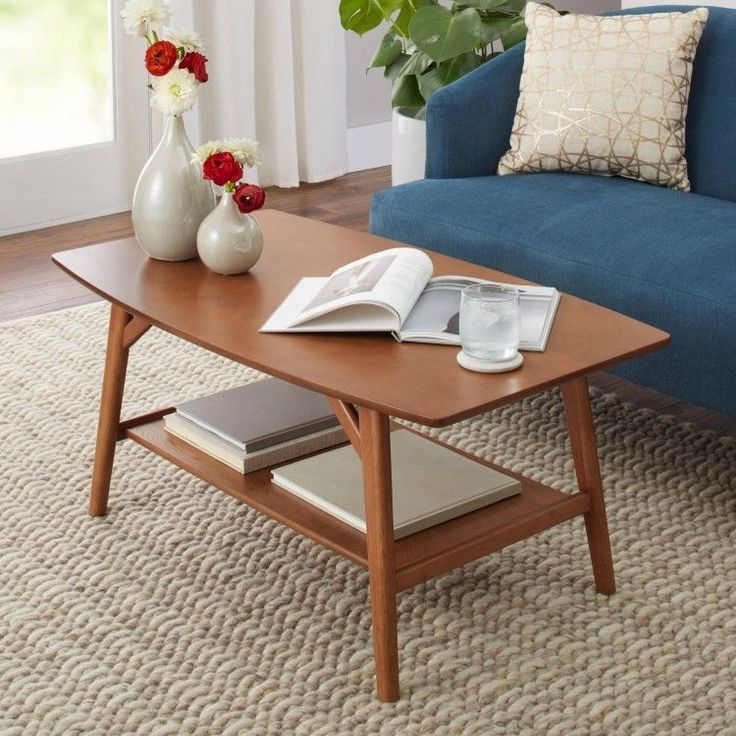 Solid Wood Coffee Table Cocktail Modern Mid Century Design Pecan Brown Stand  | Home & Garden, Furniture, Tables | eBay!