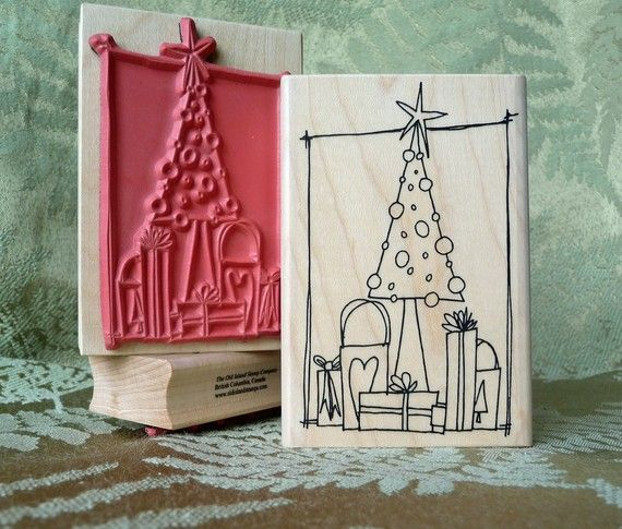 Christmas Tree rubber stamp from by oldislandstamps on Etsy