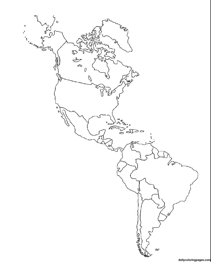 Political Blank Map Of North America And South