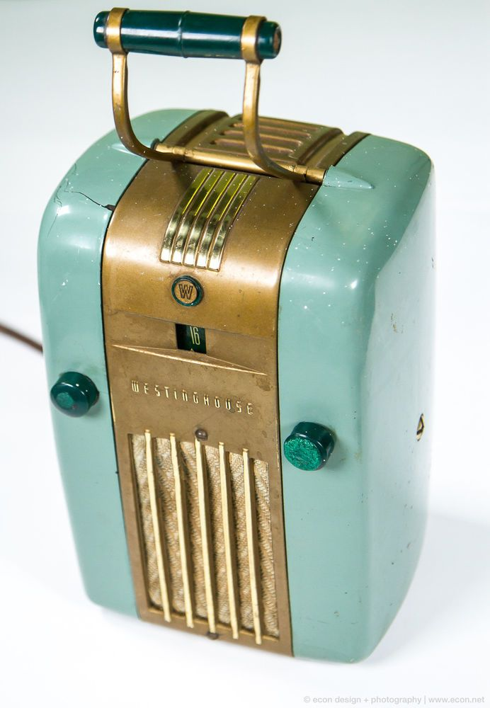 Vintage Blue 1940s WESTINGHOUSE H-125 Little Jewel Refrigerator Tube Radio USA #Westinghouse