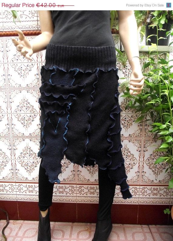 ON SALE Navy blue asymmetrical skirt Abstract skirt Recycled wool fabric handmade skirt Futuristic skirt Upcycled OOAK