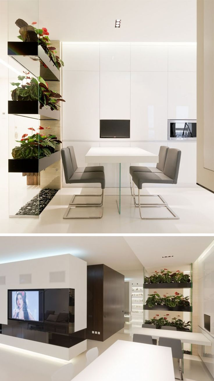 15 Creative Ideas For Room Dividers // This permanent room divider adds some greenery to the interior.