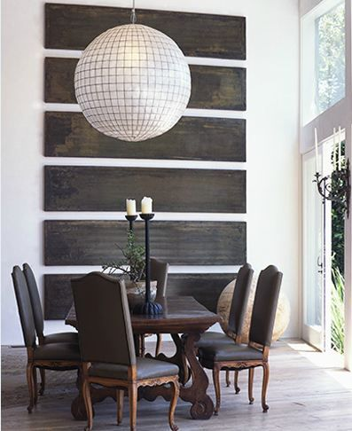 Capiz orb (loving the reclaimed wood wall installation behind it, too!)