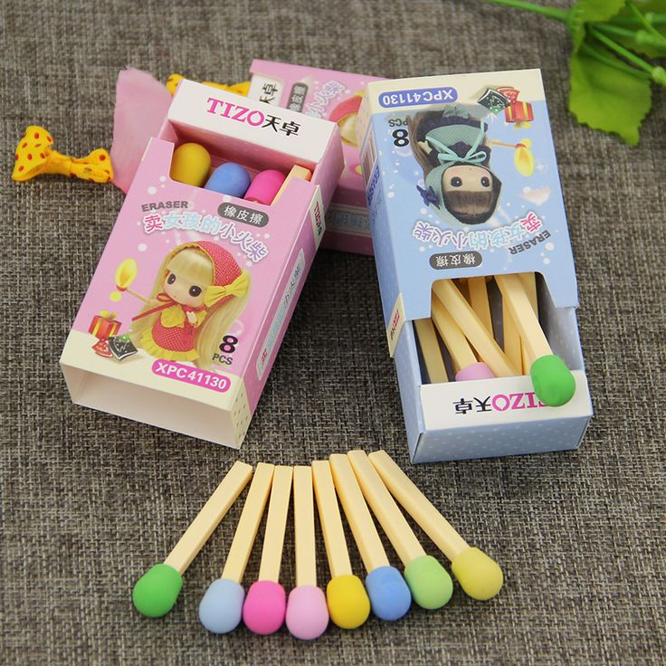 8 pcs/pack Matches Eraser Rubber for Pencil Cute Stationery Novelty Erasers Student Learning Office Supplies
