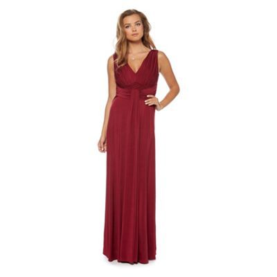 Debut Burgundy ruched jersey maxi dress-  These are the Bridesmaid dresses. It does't quite show the colour right on here. It is more a soft wine colour. We can bring one to show you.