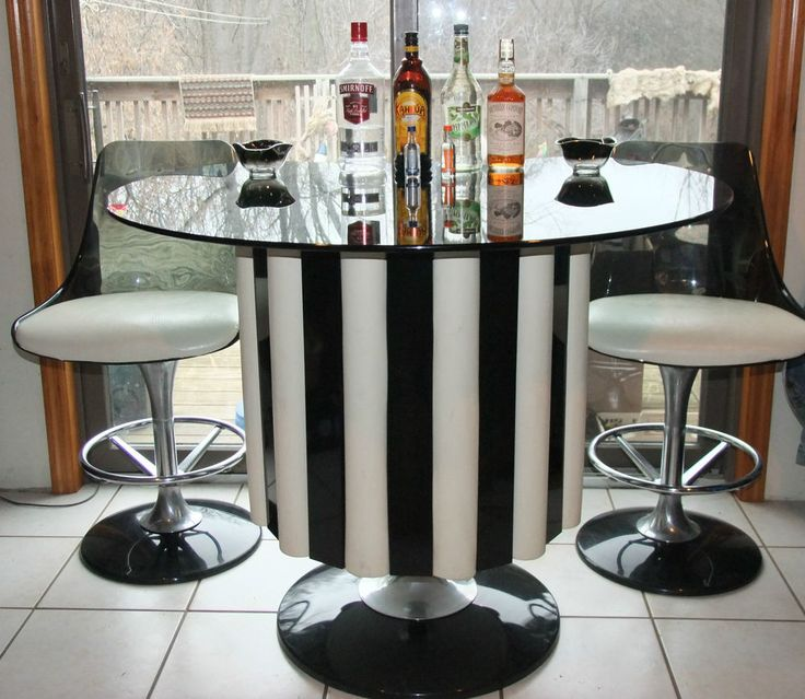 midcentury modern chromcraft bar set tulip table lucite chairstools shelves