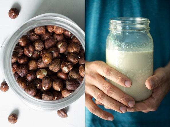 Coffee Shop Worthy Caramel Vanilla Bean Hazelnut Milk - Use less dates to make this less sweet #hazelnuts #nutmilk