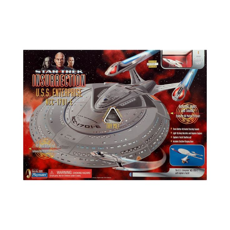 Star Trek Insurrection Enterprise E StarShip with Working Lights and Sounds. Three Button-Activated Starship Sounds. Light-Up Warp Nacelles and Impulse Engines. Captain's Yacht Shuttlecraft. Includes Starfleet Display Base. All New Detailing.