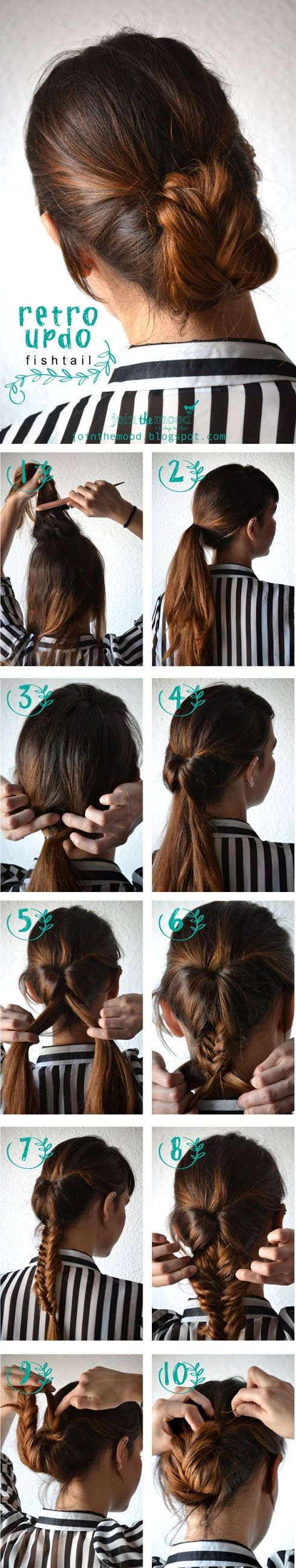How To Make Retro Updo Fishtail | hairstyles tutorial Do two French braids down the sides into the pony. Then either braid or fishtail for flip