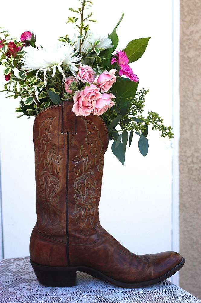 Beautiful centerpiece at a cowgirl birthday party! See more party ideas at http://CatchMyParty.com!