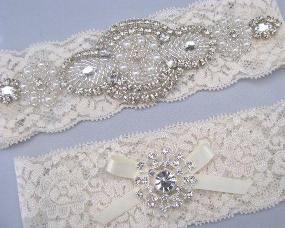 Pearl Crystal Wedding Garter Set Ivory White Lace Bridal Garters Rhinestone Keepsake And Toss Heirloom Something Blue