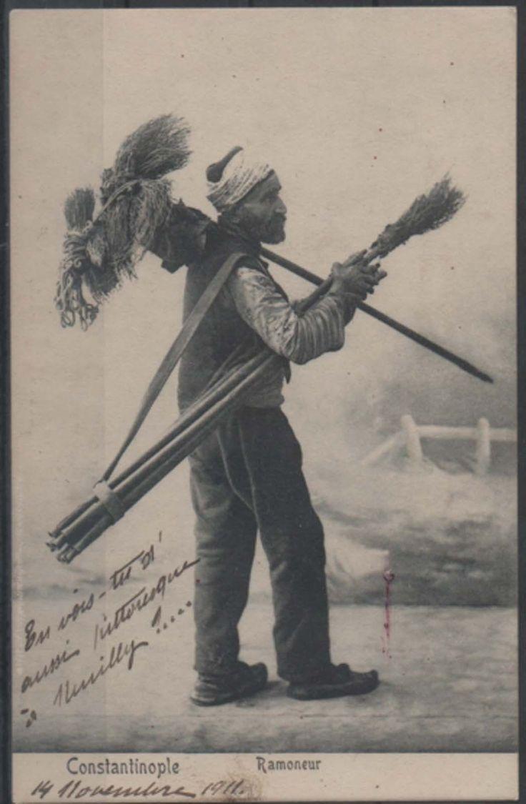 1900's TURKEY - OTTOMAN  ISTANBUL BROOM SELLER