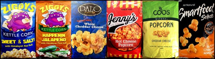 Chip Review's Top 5 Popcorn: Chip Review's Top 5 Popcorn: 1. Ziggy's - Kettle Corn (Sweet & Salty / Happenin' Jalapeno) 2. Palo Popcorn - White Cheddar Cheese 3. Jenny's Old Fashioned - Hot Che...