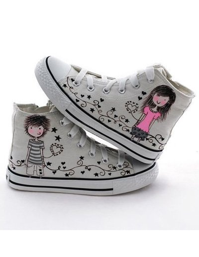 Lovely Boy And Girl Womens Hand Painting Canvas Shoes $31.98