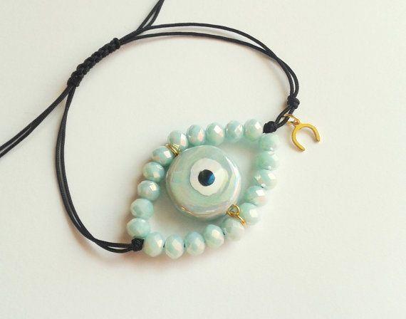 Boze oog armband Griekse boze oog keramische boze door DearTatiboo