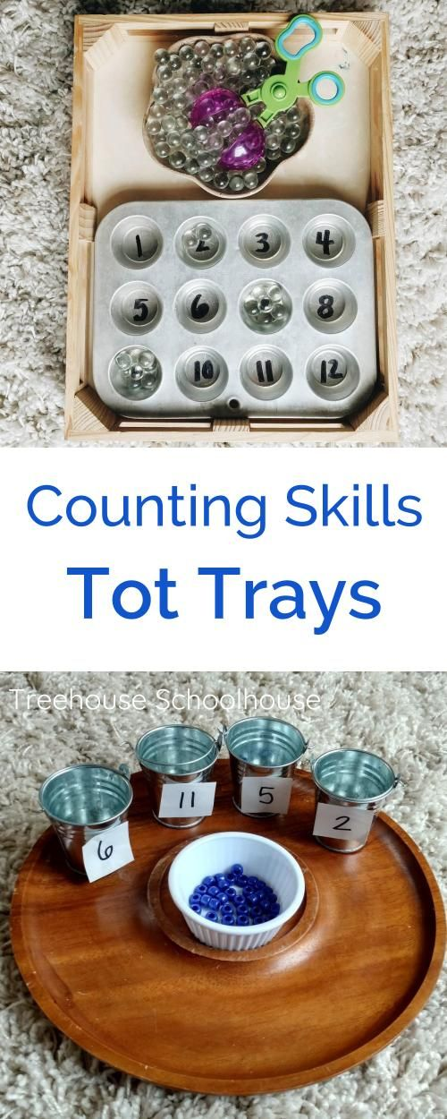 Tot Trays for Counting Skills | Treehouse Schoolhouse #tottrays #homeschool #preschool #totschool #montessori #homeschoolpreschool #countingskills #finemotorskills #toddleractivities