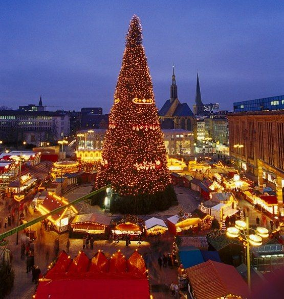 Christmas market in Dortmund, Germany  #snow #christmaslights #epic