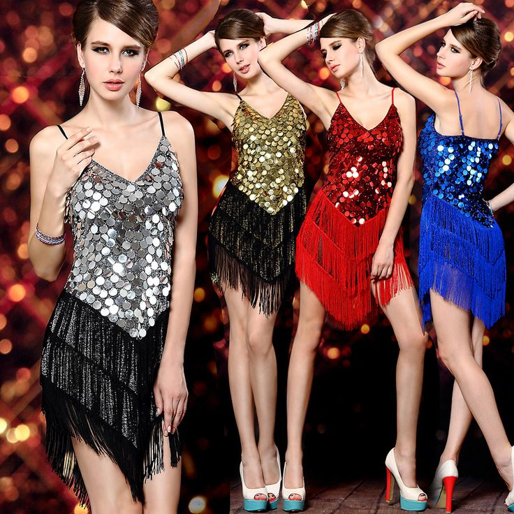 Bedazzled Fringe Dress For Latin Dance features sequins and tassels that will surely shine when make those moves on the dance floor.  Available in Silver, Gold, Red, and Blue at www.RhythmDanceShoes.com